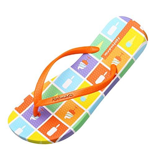 Hotmarzz Chanclas para Mujer Helado Sandalias Verano Playa Casa Piscina Ducha Flip Flops Naranja
