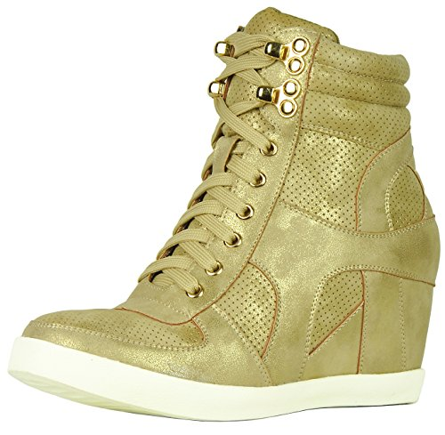 Refresh Footwear Womens High Top Hidden Wedge Fashion Sneaker Champagne qgWzq