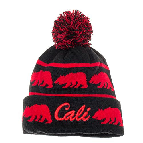 Print Winter Beanie - Artisan Owl Cali California Bear Republic Winter Knit Pom Pom Beanie Hat With Cuff (Black/Red Print)