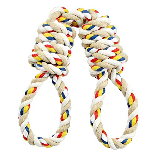 ASOCEA Dog Tug Toys Pet Cotton Chew Rope Double Loops Knot Teething Toy for Small Medium Large Dogs Puppy Training Playing Interactive ()