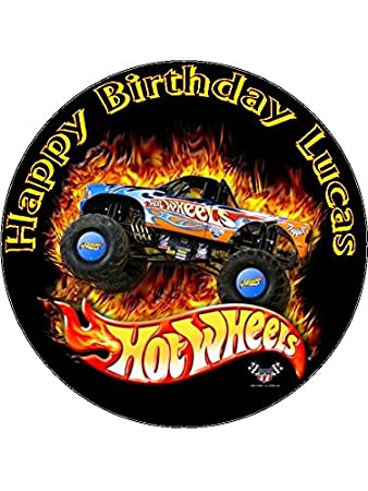 75 Hot Wheels Edible Icing Birthday Cake Topper Amazoncouk