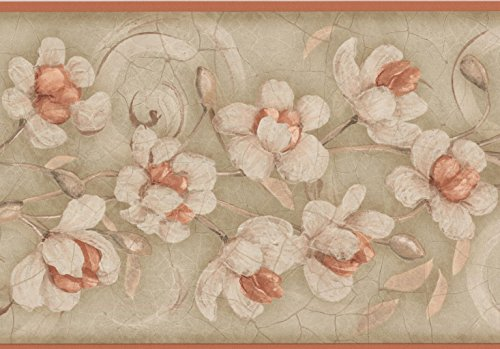 White Brown Flowers Grey Floral Wallpaper Border Retro Design, Roll 15' x 7''