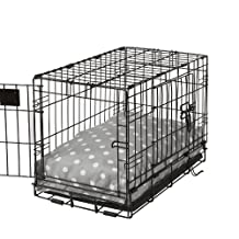 Crate Covers and More Rectangular Dog Bed Set 22, Grey Polka Dot