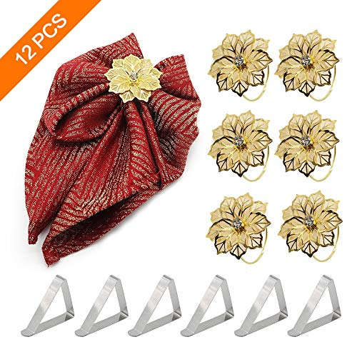 SAYOPIN Round Hollow Out Flower Napkin Rings Set of 6 + 6 Pcs Stainless Steel Tablecloth Clips + 1 Storage Bag for Mother