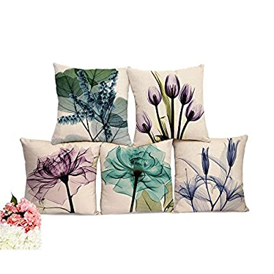 "Home Flower Decor Design Throw Pillow Cover 18 ""X18 "" Inch Cotton LinenLinen Square Decorative Pillow Case for Sofa."