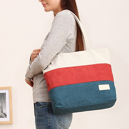 Hangbag Cross Section Beach Canvas Tote Shoulder For Women Large Blue Bag Women W1qYPp44