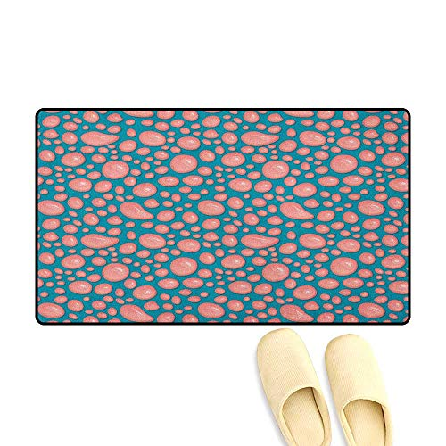 Pale Pink Bath Mats Carpet Drops and Round Splash of Bubble Gum on Blue Background in Cartoon Style Size:32