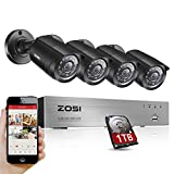 ZOSI 8Channel HD-TVI 1080N Video DVR 4x 720p Outdoor Indoor Waterproof Day Night Vision High Resolution Security Surveillance Camera System 1TB Hard Drive(Black)