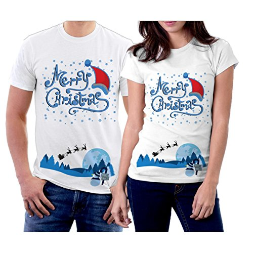 (picontshirt Winter Christmas T-Shirts Collection Design 26 for Couple Size Men L/Women XL White)