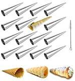 waffle cone shaper - Cream Horn Molds EUICAE 5-inch Large Size Cream Horn Forms Pack of 16 Cannoli Tubes Ice Cream Mold Stainless Steel Lady Lock Puff Pastry Cream Horn Mold Waffle Cone Pastry Roll Horn Croissant Mold