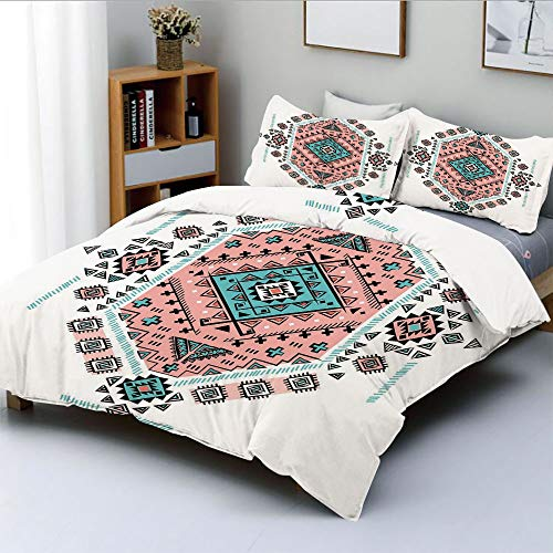 (Duplex Print Duvet Cover Set Queen Size,Mexican Native American Ethnic Symmetrical Four Corner Art PatternDecorative 3 Piece Bedding Set with 2 Pillow Sham,Teal and Coral Pink,Best Gift For Kids & Adu)
