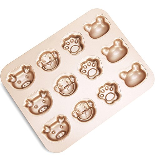 FOR BAKE 12 Cup Cartoon Cake Mould Carbon Steel Nonstick Bakeware Baking Pan Tray Frog Cat Claw Monkey Pig by FOR BAKE