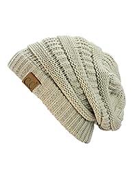 C&C Trendy Warm Chunky Soft Stretch Cable Knit Beanie Skully