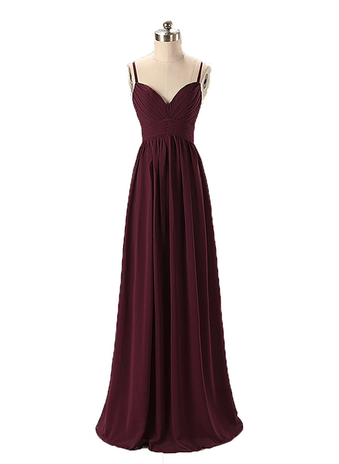 Fanmu Womens Sweetheart Removeable Straps Chiffon Bridesmaid Dresses Prom Gowns