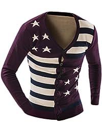 Jaycargogo Mens Stripes V-Neck Long-Sleeved Knit Cardiga