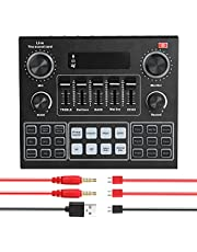 V9 Live Sound Card BT Accompaniment o Mixer with Sound Effects Broadcasting Network Singing on Phones Laptop