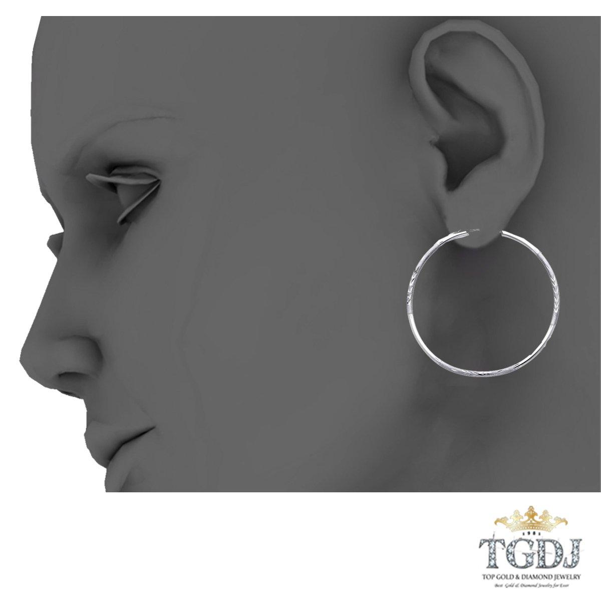 14k White Gold 2mm Thickness Endless Diamond Cut Hoop Earrings Diameter 30mm