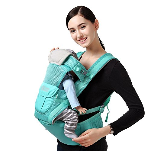 Baby Carrier Breathable Hip Seat Carrier Ergonomic Design Variety Carry Ways With Detachable Seat Portable Multifunction Breathable Mesh + Polyester Backpack Carrier Green