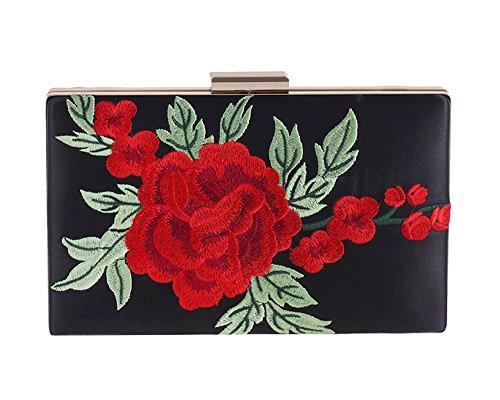 Womens Floral Leaf Embroidered Satin Evening Clutch Vintage Formal Party Handbag Purse(Black)