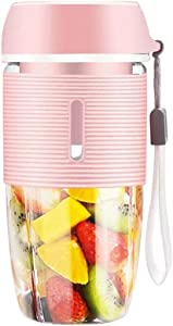 MANMEI-Portable Blender Cup,35-50W for Fruit Juice, Milk Shakes, 400ml Baby Juice Cup with Two 3D Blades for Great Mixing USB Charger Cable(Great for Home Office Sports Travel Outdoors) (Pink)