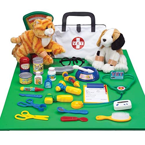 Constructive Playthings Pretend Play Veterinarian Play-Set with Stuffed Puppy and Kitty