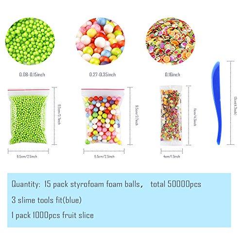 Large Product Image of OPount 15 Pack Colorful Styrofoam Foam Balls for Slime 0.08-0.35 Inch with Slime Tools and Fruit Slice for Slime Making Art DIY Craft