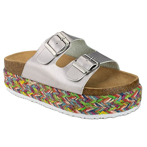 00dc6b9aa22 RF ROOM OF FASHION Women s Open Toe Espadrille Lug Sole Summer Slip on Platform  Footbed Slides Sandals - Buy Online in KSA. Shoes products in Saudi Arabia.