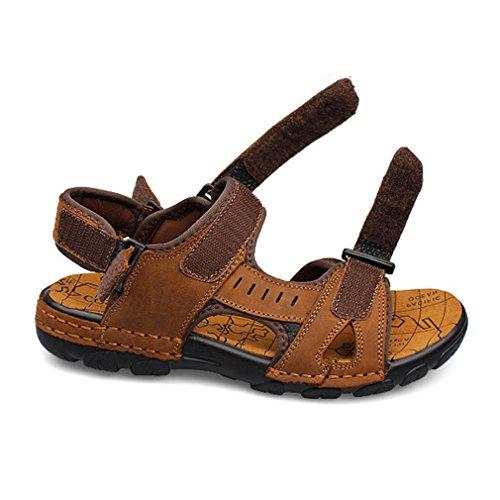 Juleya Mens Leather Adjustable Touch Fasten Comfort Gladiator Summer Sandals Shoes Brown NkYhH2rfJ