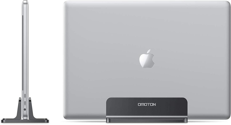 OMOTON Vertical Laptop Stand, [Adjustable MacBook Stand] [Space Saving] Desktop Holder Stand for MacBooks, Apple Notebooks, Aluminum, Black