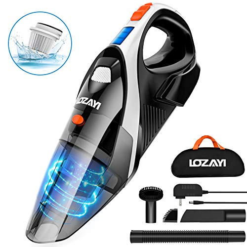Handheld Vacuum, LOZAYI 7KPA Cordless Handheld Vacuum Rechargeable Hand Vac, LED Light 100W Stronger Cyclonic Suction Lightweight Wet/Dry Vacuum Cleaner for Home Pet Hair Car Cleaning-Orange