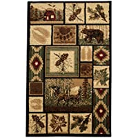 Rugs 4 Less Collection Rustic Western and Native American Wildlife and Wilderness Cabin Lodge Accent Area Rug - R4L 386 (2x3)