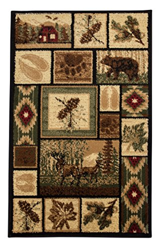 Rugs 4 Less Collection Rustic Western and Native American Wildlife and Wilderness Cabin Lodge Accent Area Rug - R4L 386 (2x3) (Wilderness Lodge)