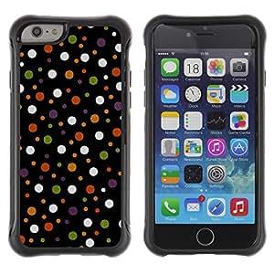 Híbridos estuche rígido plástico de protección con soporte para el Apple iPhone 6 (4.7) - spots polka dot design fabric pastel