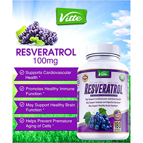 51G4wsQmw4L - 100% Pure Resveratrol 1000mg Per Serving Max Strength 180 Capsules Antioxidant Supplement Extract Natural Trans-Resveratrol Pills for Heart Health and Weight Loss Made in USA