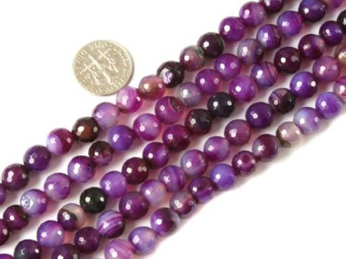 8mm Round Faceted Gemstone Banded Purple Agate Beads Strands 15 Inch Jewelry Making Beads