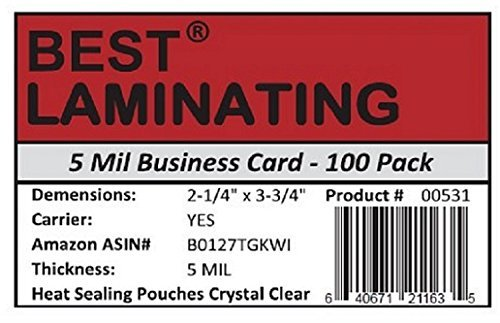 Best Laminating® - 5 Mil Business Card Therm. Laminating Pouches - 2-1/4 x 3-3/4 (100 Pouches)