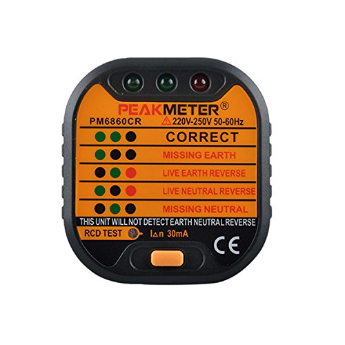 Automatic Electrical Tester (PEAKMETER PM6860CR Socket Tester Outlet Tester Automatic Electric MINI Orange Wall Plug Polarity Checker For Correct Wiring Neutral Live Earth Wire Testing European 230V)