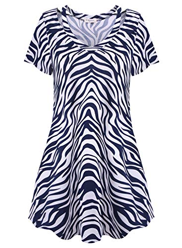 (Bulotus Dress for Women Plus Size Summer Casual Dresses (White Blue, XXX-Large))