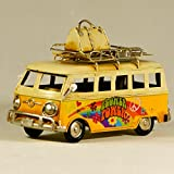 EliteTreasures Retro Metal Collectible Yellow VW Hippie Van Model - VW Camper Figurine - Hippie Beach Van Model - Flower Power Van - Metal Classic Van Tabletop Ornament Figurine