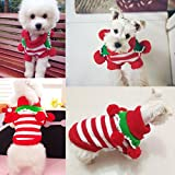 Joyingtwo Pet Dog Cat Costume Christmas Cute Knitwear Outerwear with Collar and Balls Pet Costume Sweaters, White & Red S