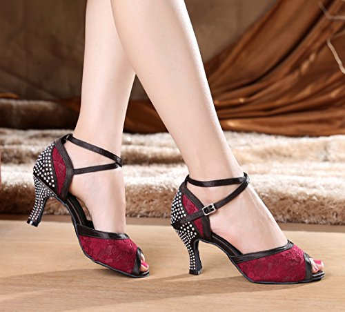 Tda Damesmode Kanten Kristallen Enkelband Synthetische Salsa Tango Ballroom Latin Moderne Dansschoenen Rood