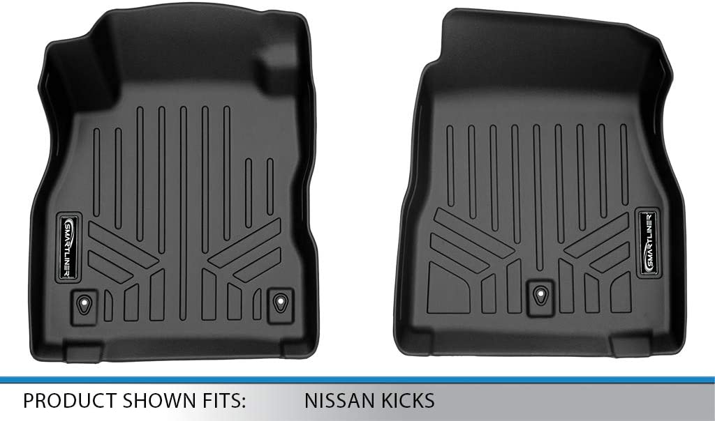Megiteller Car Floor Mats Custom Fit for Nissan Kicks 2018 2019 2020 Odorless Washable Heavy Duty Rubber All Weather Floor Liners Front and Rear Row Set Black