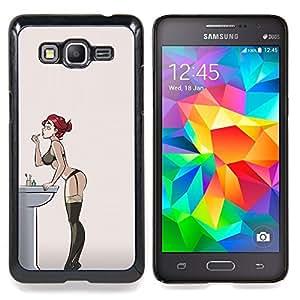 """Redhead atractivo de la ropa interior de la muchacha Medias"""" - Metal de aluminio y de plástico duro Caja del teléfono - Negro - Samsung Galaxy Grand Prime G530F G530FZ G530Y G530H G530FZ/DS"""
