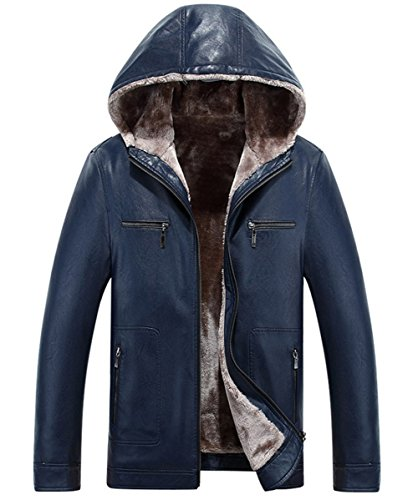 Sheepskin Outdoor Coat Parka Leather Royal Lining Blue Thick Faux Fur Men's Winter RUIYUNS Warm Hooded Jacket Trench wAHUUY