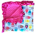 Soft and Cozy Large Minky blanket - Owls with hotpink trim from PoshNPretty