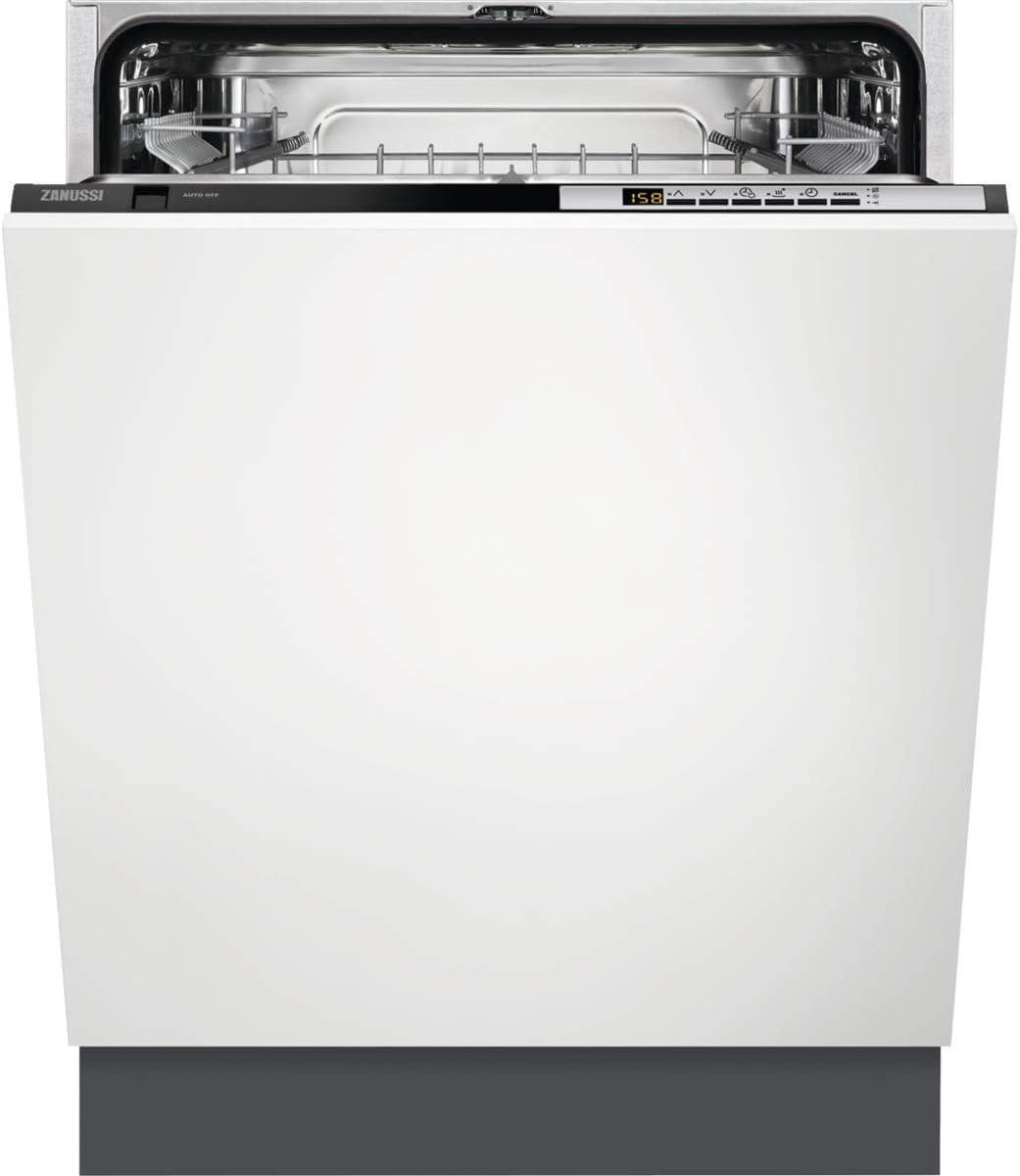 Zanussi ZDT26040FA Lavavajillas Integrado AirDry 13 cubiertos, Display LCD, Clase A+++, Desconexión automática, 5 programas a 4 temperaturas, Piloto BeamOnFloor, Motor Inverter, 46 dBA, Blanco, 60 cm