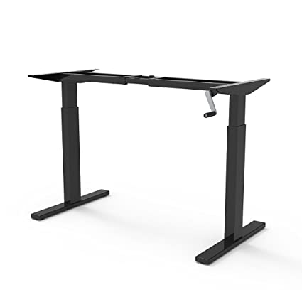 Amazon Com Flexispot 48 Crank Height Adjustable Office Workstation Black Frame Only Standing Desk Leg Office Products