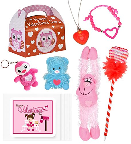 6 Piece Valentine's Day Gift Assortment Bundle Pack of Toys for Girls