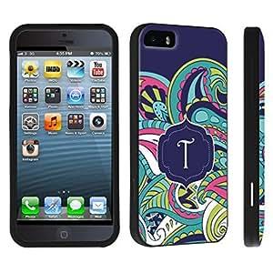 DuroCase ? Apple iPhone 5 / iPhone 5s Hard Case Black - (Mint Flower Monogram T)
