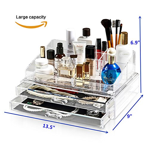 Home Storage Organizers (Felicite Home Acrylic Jewelry and Cosmetic Storage Makeup Organizer Set, Large Size 13.5W x 9.0D x 6.9H Inch)